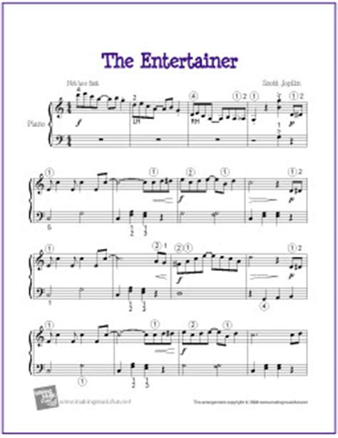 tutorial piano the entertainer the entertainer joplin printable sheet music for