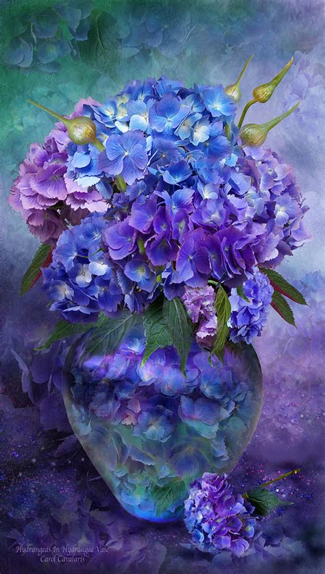 Hydrangea In Vase by Hydrangeas In Hydrangea Vase Mixed Media By Carol Cavalaris