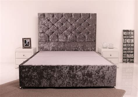 headboard double bed giltedge beds 4ft 6 double divan base crushed velvet fabric