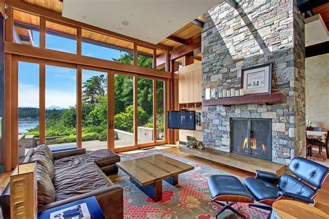 wood and stone house design beautiful house of wood stone and steel on bainbridge island modern house designs
