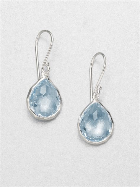 light blue topaz earrings ippolita blue topaz sterling silver teardrop earrings in