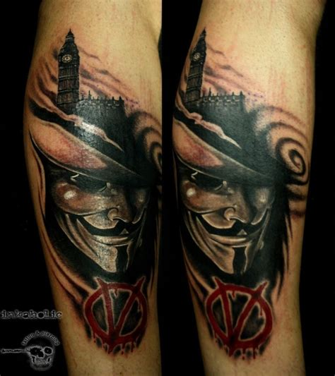 anonymous mask tattoo new school style colored of big ben with anonymous