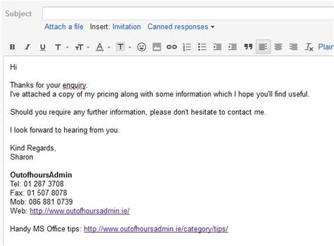 email format enquiry how to set up an email template in gmail outofhoursadmin