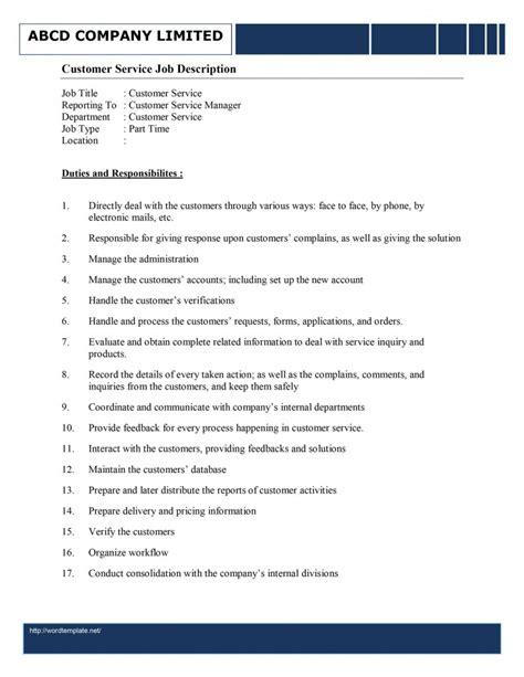 Customer Service Job Description Template Maintenance Description Template