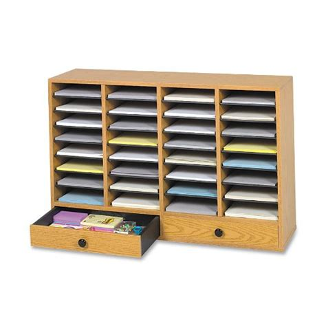 32 compartment drawer organizer safco products wood adjustable literature organizer with