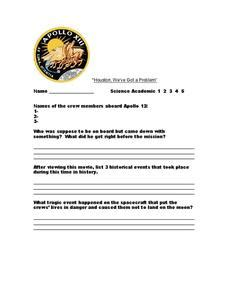Apollo 13 Worksheet by Apollo 13 Questions Worksheet For 7th 10th Grade