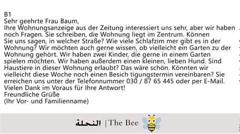 Reklamation Brief B1 brief eine wohnung infrage b1