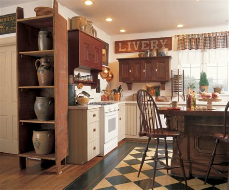 a rustic country kitchen in the early american style 3 ideas for decorating with primitives and folk art old