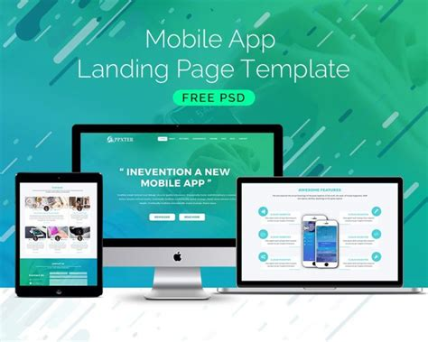 mobile app landing page template download download psd
