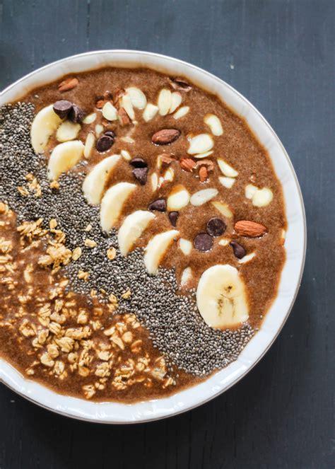 protein bowl mocha banana protein smoothie bowl ambitious kitchen