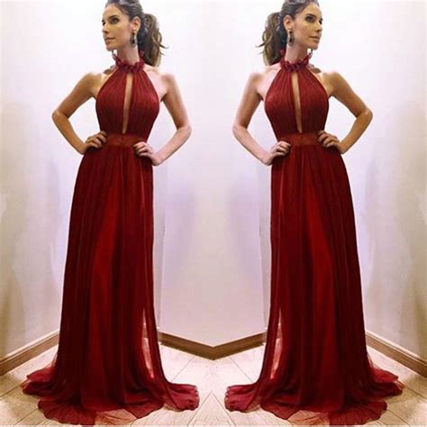 Dress Maroon halter maroon burgundy prom dresses draped chiffon 2016 prom gowns