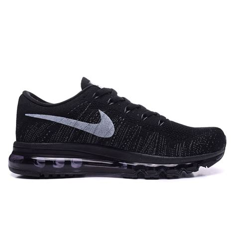 simple all black nike flyknit air max 2014 running shoes