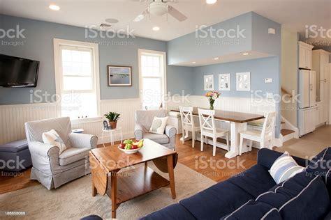 seaside house interior living room stock photo