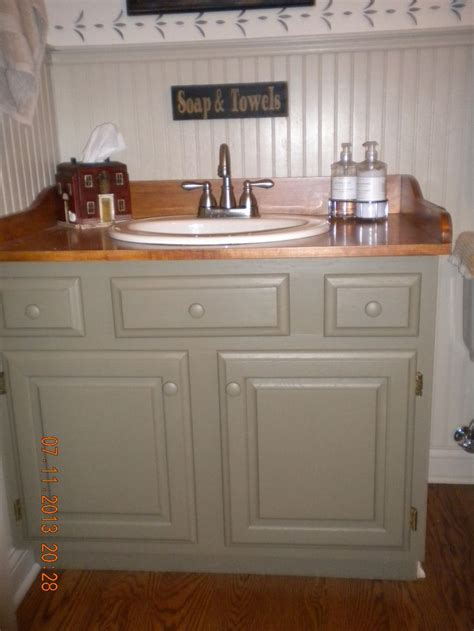 primitive vanity with wood counter be it ever so humble