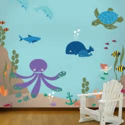 Painted Wall Murals For Kids Under The Sea Theme Ocean Wall Mural Stencil Kit For