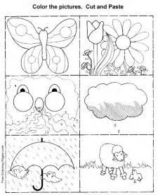 color and cut printable kid activity pages cut and paste 2