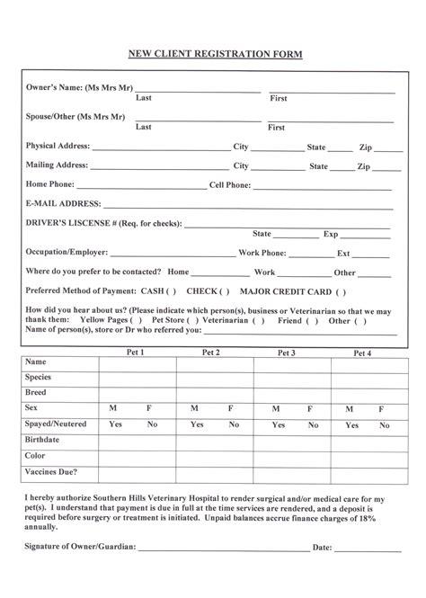 New Client Registration Form New Client Registration Form Template