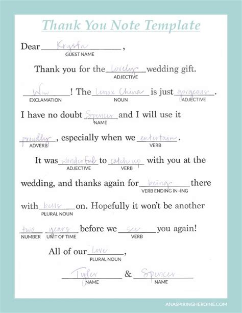 Thank You Note Writing Template Writing Thoughtful Personalized Thank You Notes Wedding Brides And Thank You Cards