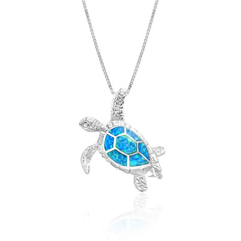 Turtle Blue Opal Pendant Necklace In Sterling Silver