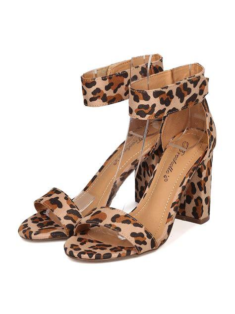 Sepatu Slip On Wedges Suede 02 shoes breckelles gh02 faux suede leopard open toe ankle block heel sandal