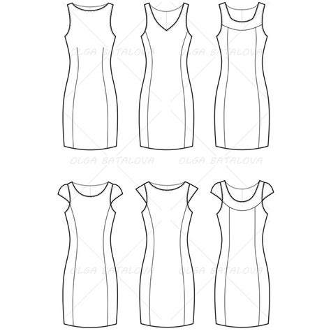 dress template for adobe illustrator women s fitted dress fashion flat template illustrator stuff