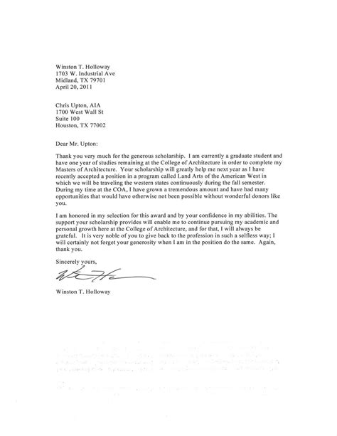 Thank You Letter For Scholarship Award Template Aia West West Chapter Aia 2011 Scholarship
