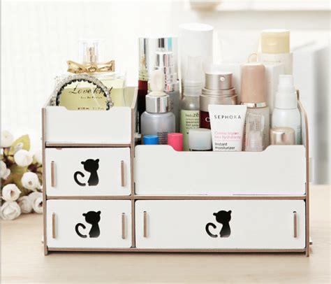 Meja Dekstop Laci Kosmetik Dekstop Storage jual rak kosmetik bahan kayu rak makeup 3 laci kucing desktop storage tingting store