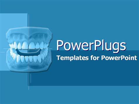 free dental powerpoint templates model of new dentures on blue powerpoint template