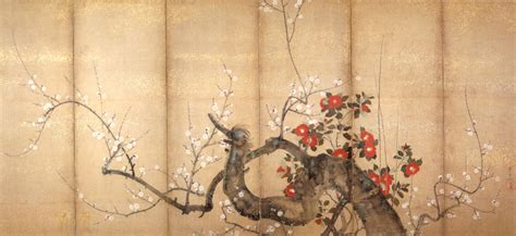 file flowering plum and camellia six fold screen by suzuki kiitsu c 1850s ink and color on