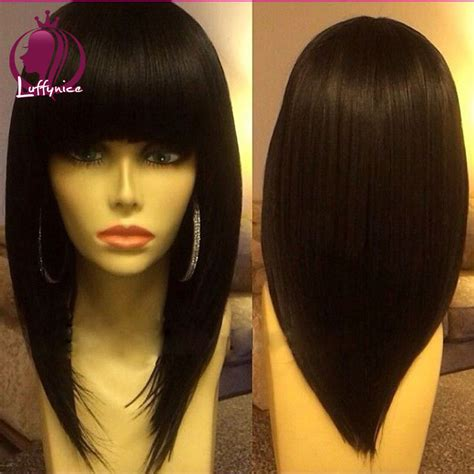 Hairstyle Wigs With Bangs by Black Human Hair Wigs With Bangs Wigs By Unique