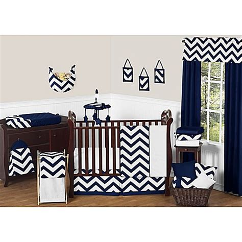 Sweet Jojo Designs Chevron Crib Bedding Collection In Navy Navy Chevron Crib Bedding