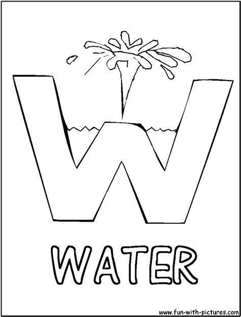 preschool coloring pages letter w w is for water picture alphabets w coloring page water