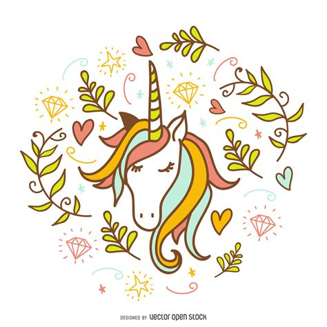 Unicorn Doodle With Decorations Free Vector