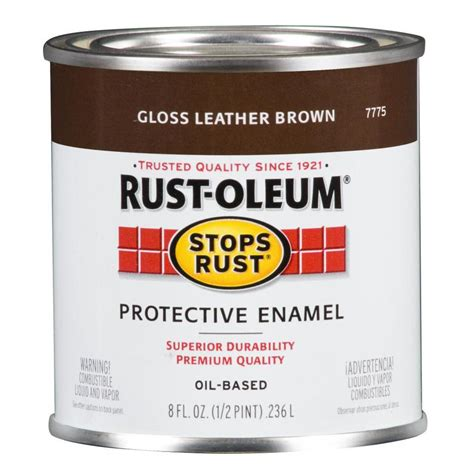 shop rust oleum stops rust leather brown gloss based enamel interior exterior paint actual