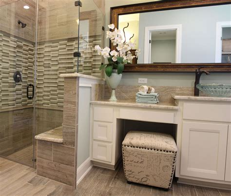 Space Bathroom - master bath with white cabinets with knee space vanity