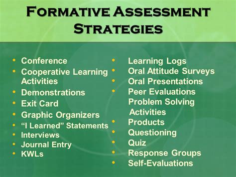 formative assessment strategies in formative assessment ppt