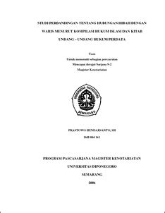 Undang Undand Tentang Perkawinan Kompilasi Hukum Islam studi perbandingan tentang hubungan hibah dengan waris menurut kompilasi hukum islam dan kitab