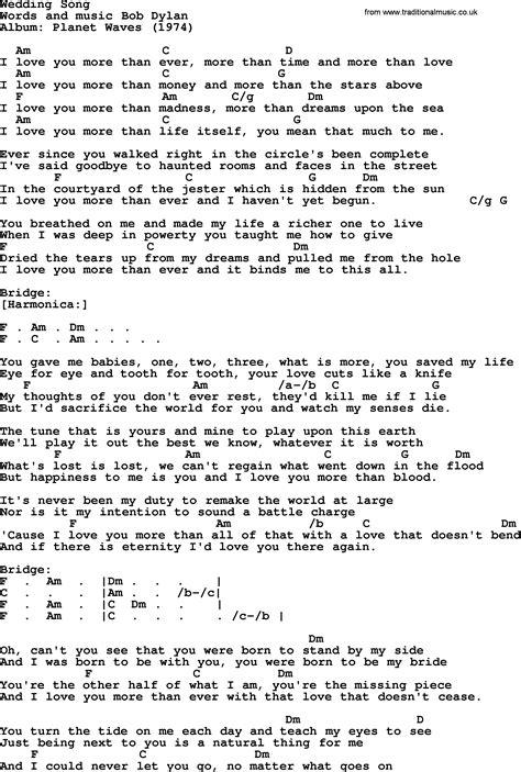 song on bob song wedding song lyrics and chords