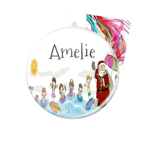 personalised christmas decorations swim santa badge