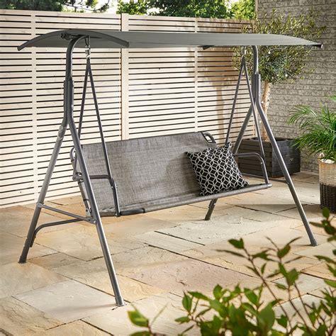 clean swing vonhaus 3 seater swing seat with canopy outdoor garden