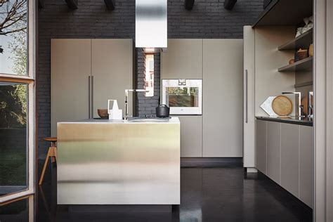 cucina cesar cucina componibile in acciaio inox e fenix con isola