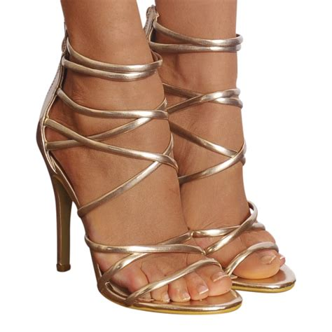 gold sandals high heels womens gold metallic barely there strappy sandals