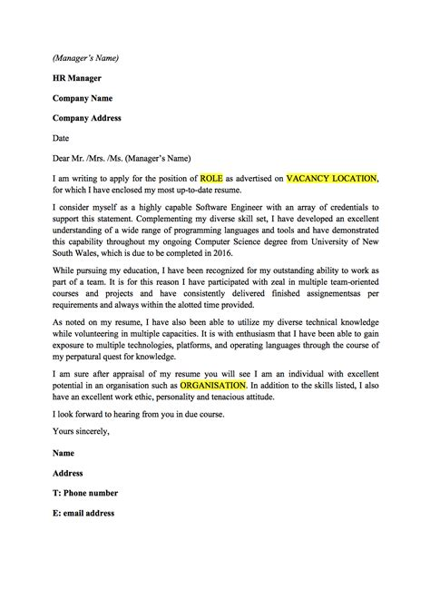 Email Cover Letter For Software Engineer cover letter template australia software engineer