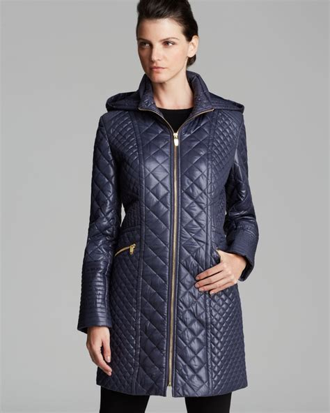 Via Spiga Jacket For by Via Spiga Quilted Coat Zip Front Hooded In Blue Lyst