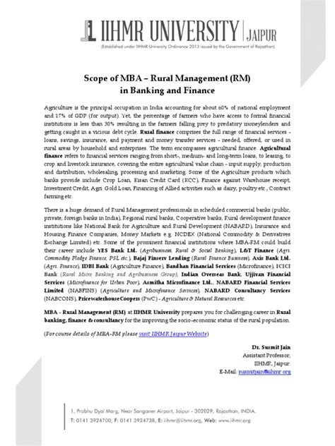 Mba In Financial Markets Scope by Scope Of Mba In Rural Management In Banking Finance
