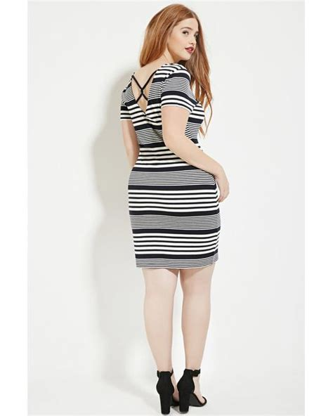 Stripe Bodycon Dress Only Size L forever 21 plus size stripe bodycon dress in blue navy ivory lyst