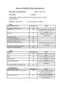 risk assessment for manual handling template operations manual template uk book db