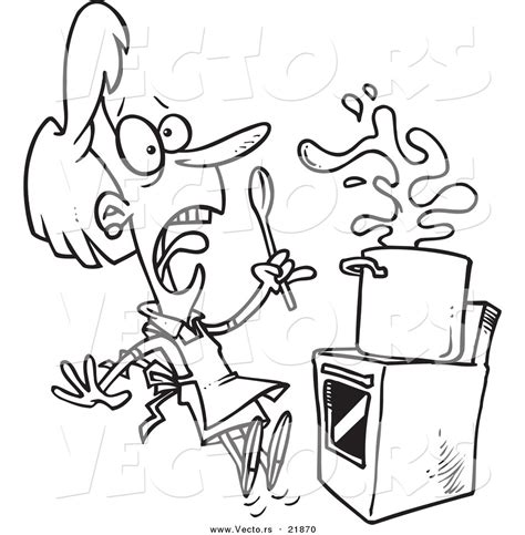 boiling water coloring page vector of a cartoon monster scaring a chef outlined