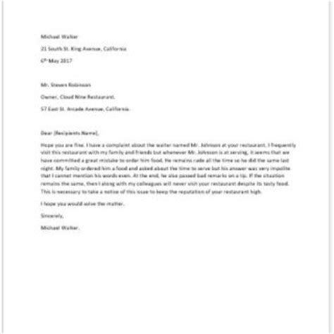 Complaint Letter Template Rude Staff Formal Official And Professional Letter Templates