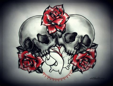 image result for tattoo designs skull heart rose art
